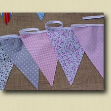 FABRIC BUNTING 10ft FLORAL SPOT STRIPE WEDDING PARTY SHABBY CHIC