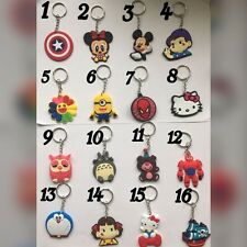 2 FOR 1.50£ SOFT RUBBER SOFT PVC KEYCHAIN CARTOON CHARACTER FREE DELIVERY