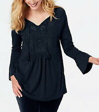 J.Jill  Embroidered Knit Peasant Top   3X   NWT $79   NAVY