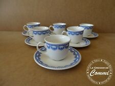 6 tasses à moka + sous tasses Royal Boch Carlotta bleu