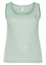 Sheego Damen Top Spitze Shirt Bluse Oberteil ärmellos grün gestreift Größe 52