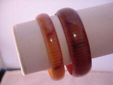 Rare Vintage Lucite Bangle Bracelets Striped Moonnglows Shades of Brown   1960s