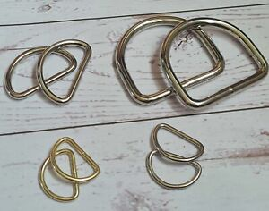 2 x Welded metal D-rings for bag straps, bag making. 25 mm/38mm/50 mm. Silver/go