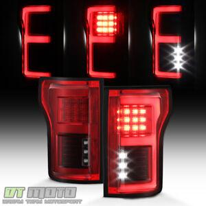Red 2015 2016 2017 2018 Ford F150 FULL LED w/Blind Spot Sensor Tail Lights Lamps