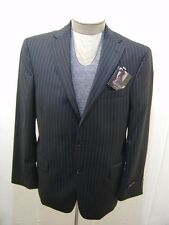Kenneth Roberts Mens 100% Wool Sport Coat Blazer Jacket Black Pinstripe 44L $325