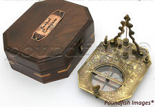 Solid Brass Pendulum Sundial and Compass in Hardwood Box-Pocket Sundial&compass
