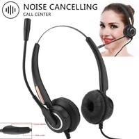Call Center Corded Operator Telephone Headset Monaural Headphone Office w/ Mic