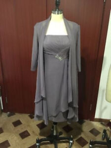 Gray Chiffon Women Mother Of The Bride Outfits Wedding Evening Dress Plus Size