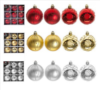 Set Of 9 x 60mm Luxury Box Glitter Matt Baubles Christmas Xmas Tree Decorations