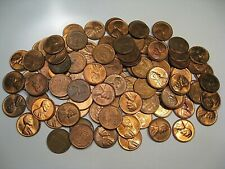 100+ (2 Rolls) BU/UNC Red/Red-Brown Lincoln Wheat Pennies Mostly 1950's.  #4