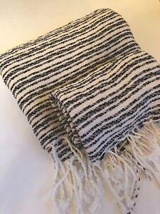 Turkish FOUTA Towel 2 Pc SET Peshtamel Hammam  Black & Ivory Stripe BOHO CHIC !