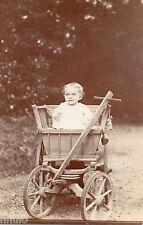 BJ048 Carte Photo vintage card RPPC Enfant bébé landeau ancien charette jouet