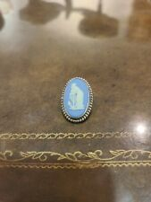 """Vintage Blue Wedgewood Oval Pin Made In England """"Classic"""""""