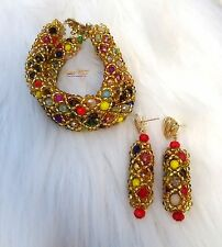 Multi Color Bracelet and Earring African Beads Jewellery Set