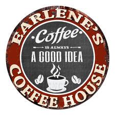 CPCH-0811 EARLENE'S COFFEE HOUSE Chic Tin Sign Decor Gift Ideas