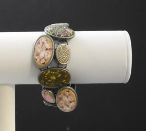 Jilzara Prairie Cobblestone Bracelet Polymer Clay Inlay Discs Handmade P4