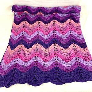 Vintage Handmade Afghan Throw Blanket Crocheted Purple Ombre Chevron Zig Zag