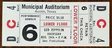 Led Zeppelin-John Bonham-1969 Rare Unused Concert Ticket (Austin, Texas)