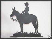 Mule & Rider (like Horse) Man or Woman Western Metal Silhouettes