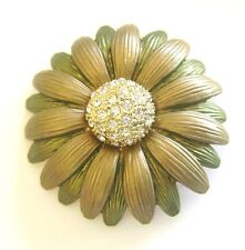 Flower Brooch Green Enamel Gold Plated Pin Crystal Rhinestone Christmas Gift New