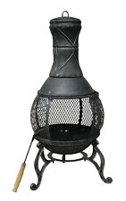 Charles Bentley 89cm Large Open Bowl Mesh Cast Iron Chiminea Patio Heater Black