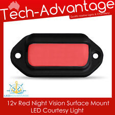 12V SURFACE MOUNT NIGHT VISION RED SMOKED LENS COURTESY BOAT/DECK/STAIR LIGHT