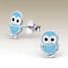 Girls Sterling Silver Baby Owl Stud Earrings Lt Blue Kids Cute Studs Genuine 925
