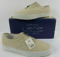 Cherokee EMMA Women's Beige Canvas Shoes Zip-Up Front Size 9.5 M NIB