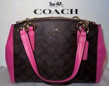 Coach Mini Christie Signature Carryall Bag Satchel Crossbody Brown Fuchsia $350