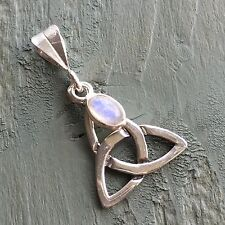 925 Sterling Silver Celtic Triquetra Rainbow Moonstone Charm Pendant Wicca
