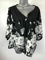 WOMENS WAREHOUSE BLACK FLOWER PATTERNED 3/4 SLEEVE V-NECK TIE FRONT TOP SIZE 14