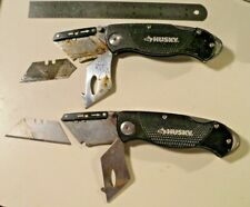 2 HUSKY BRAND BLACK HANDLED FOLDING UTILITY KNIFE/KNIVES GOOD USED CONDITION