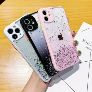 Case For iPhone 12 Pro Max 11 XR X 8 7 Glitter Epoxy Colorf Clear Acrylic Cover