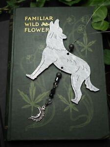 Silver Wolf Window Hanger  - Pagan, Wicca, Winter Solstice, Christmas, Yule Tree
