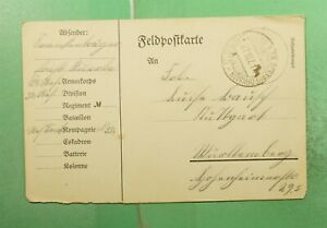 DR WHO 1914 GERMANY FELDPOST FREE FRANK POSTCARD TO WURTTEMBERG  g19499