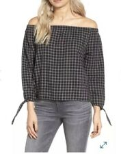Madewell Women's Medium Black White Plaid Off The Shoulder Top Blouse NWT