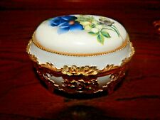 Hinged Blue Floral San Francisco Music Box Company Unchained Melody!