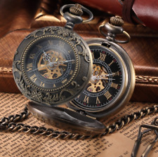 Watch Mens Pocket Watch Steampunk Fob Mechanical Wind Up Skeleton Vintage Chain