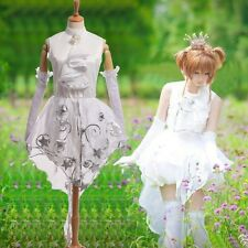 CARDCAPTOR White Bride Wedding Dress SAKURA KINOMOTO Cosplay Costume w Gloves