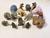 Lot of 15 Vintage Hippo Figurines Stone, Ceramic, Plastic & Rubber Smalls