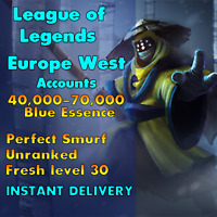 [EUW 40-100k BE] League of Legends Unranked Account EUW SMURF LoL Unverified