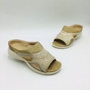 Easy Spirit Women's Traveltime Teak-2 Comfort Slide Sandal Size 8W Bronze