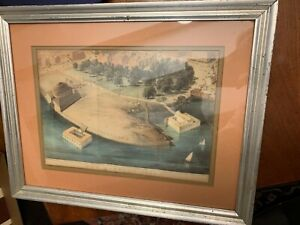 """Professionally Framed Antique 1869 Lithograph Print """"The Battery"""" (Park) NYC"""