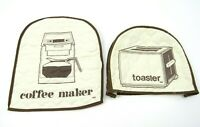Vintage Coffee Maker Toaster Cover Quilted Brown Lined Kitchen Decor Retro Lot