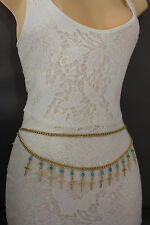 Women Metal Chain Belt High Waist Side Hip Gold Cross Turquoise Bead XS S M L