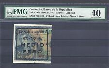 COLOMBIA  BANKNOTES HALF PESO 1943 LEFT SIDE PMG CERTIFIED 40