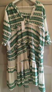 RIDLEY pure cotton relaxed fit dress in green & cream Sz S - $229 -New With Tags