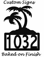 Palm Tree Numbers Address Metal Sign