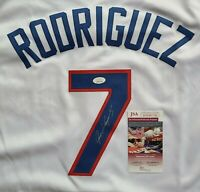 HOF Ivan Pudge Rodriguez Texas Rangers Signed Auto White XL Jersey JSA Witnessed