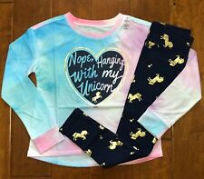 NWT JUSTICE GIRLS 7 8 10 12 OUTFIT~UNICORN TEE/NAVY UNICORN GOLD FOIL LEGGINGS
